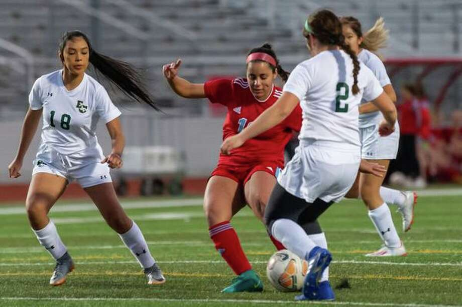 Isabel Boissa (12) slams home the first goal of the night as Lumberton girls soccer dominated the Lady Bucs of East Chambers in their match on Friday, February 7, 2020.  Fran Ruchalski/The Enterprise Photo: Fran Ruchalski / The Enterprise / 2019 The Beaumont Enterprise