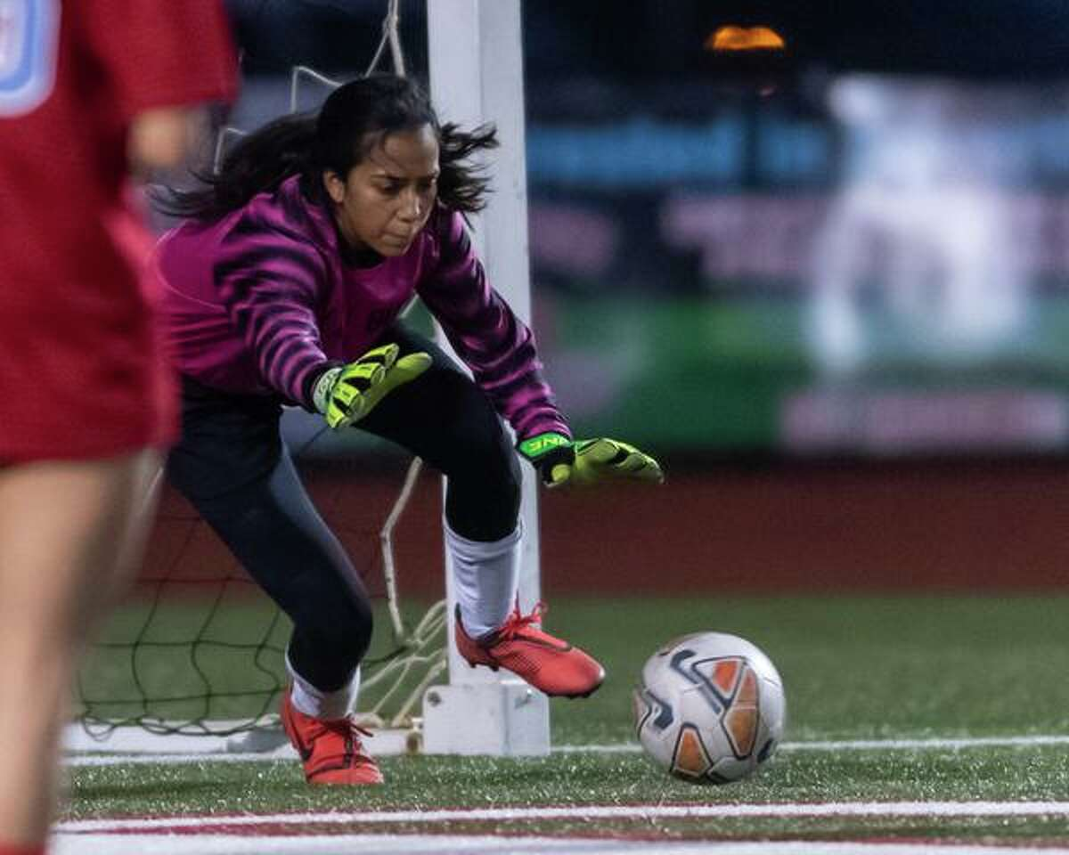 Goalkeeper Maria Burgos (00) makes a save in the first half as the Lumberton girls soccer team dominated the Lady Bucs of East Chambers in their match on Friday, February 7, 2020. Fran Ruchalski/The Enterprise