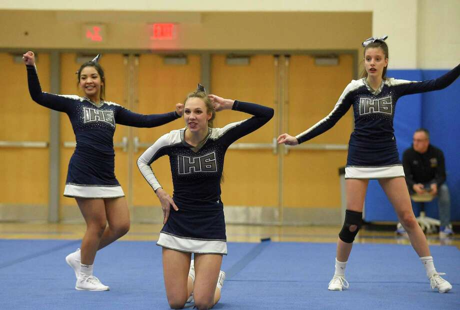 Immaculate Cheer competes in the SWC cheer championships at Newtown High School on Feb. 7, 2020 in Newtown, Connecticut. Photo: Matthew Brown / Hearst Connecticut Media / Stamford Advocate