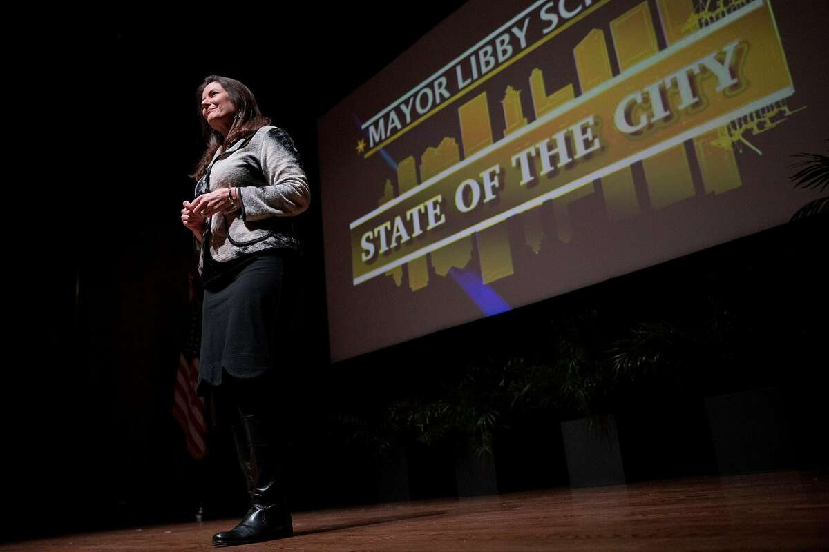 Oakland Mayor Libby Schaaf delivers her State of the City address at the Oakland Museum in Oakland, Calif. Friday, February 7, 2020.