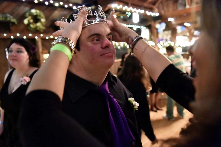 "North Branford, Connecticut - February 7, 2020:  The ""Night to Shine"", a prom night style event Friday evening for 95 people with special needs, ages 14 and above, with 95 ""buddies"", 175 volunteers and 80 parents and caregivers at Bill Miller's Castle in North Branford and sponsored by Shoreline Community Church of Branford through the Tim Tebow Foundation. The Shoreline Community Church event was one of 655 churches around the world the also held a ""Night to Shine"" event. Photo: Peter Hvizdak, Hearst Connecticut Media / New Haven Register"