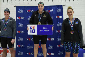 Colleen Quaglia earned the top spot on the podium at last year's Northeast-10 Conference championship meet in the 200 butterfly. (Courtesy of Saint Rose)