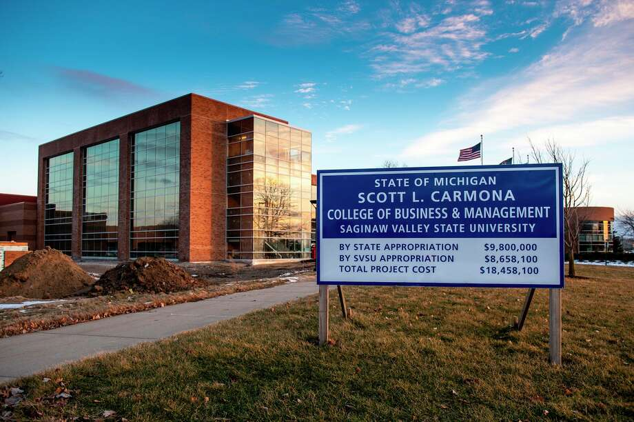 Pictured is the building expansion for SVSU's Scott L. Carmona College of Business, where the Michigan Small Business Development Center will open a branch office later this year. (Photo provided/Tim Inman, SVSU)
