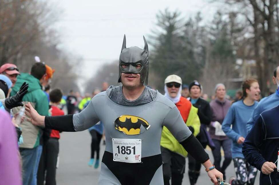 1. I have routinely worn a child's extra-large Batman costume (that I bought my senior year of high school) while running in the Saratoga Turkey Trot.