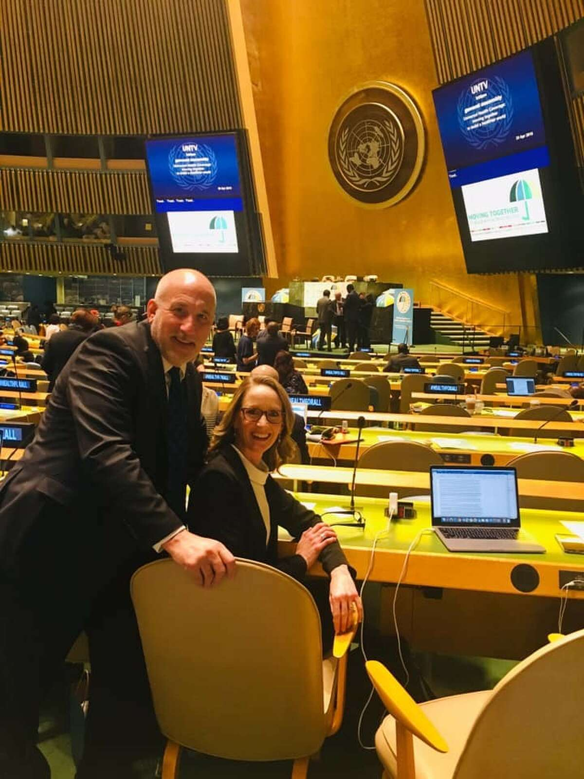 Emily Smith, Wayland alumnus and Baylor faculty member, waits her turn to speak before the 73rd Session of the United Nations General Assembly in September 2018 with pediatric surgeon Henry Rice, her mentor and colleague from Duke.
