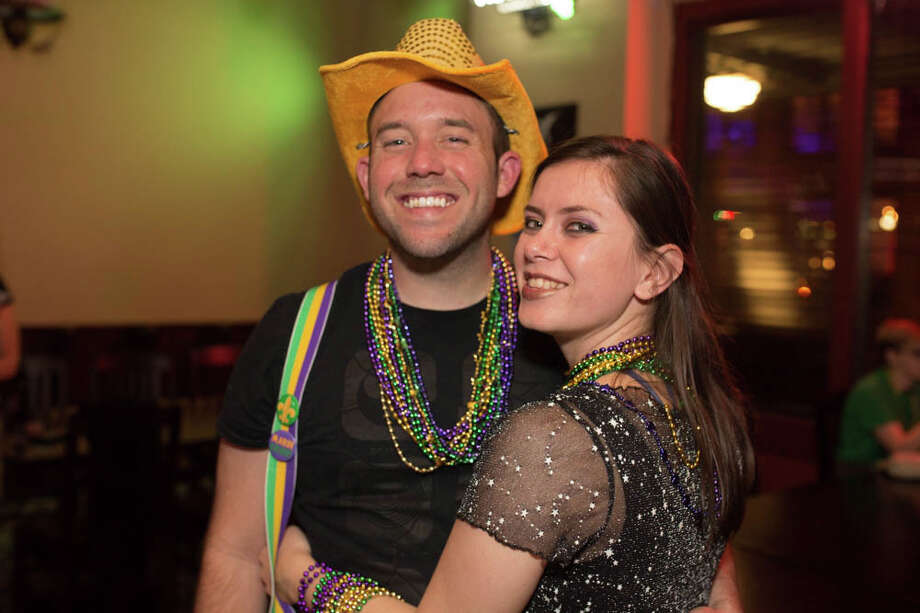 San Antonians celebrated Mardi Gras downtown in the First Friday Pub Run on Friday, February, 7, 2020. Photo: B. Kay Richter