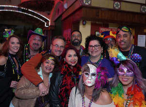 San Antonians celebrated Mardi Gras downtown in the First Friday Pub Run on Friday, February, 7, 2020.
