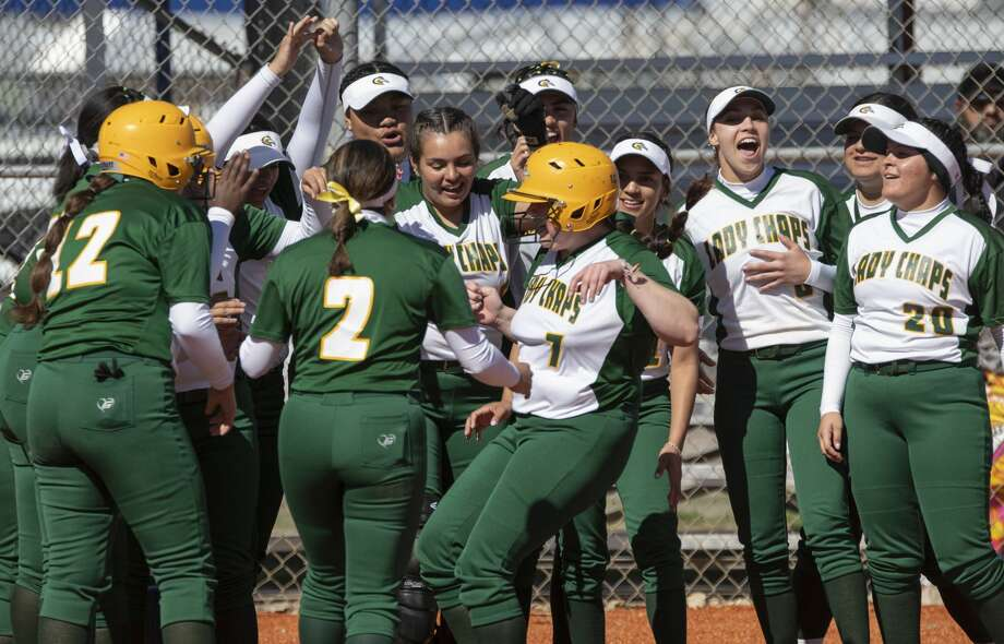 Midland College's Hannah Ice, 7, is congratulated at home plate 02/08/2020 for a solo homer in the first game of a doubleheader against Snow College. Tim Fischer/Reporter-Telegram Photo: Tim Fischer/Midland Reporter-Telegram