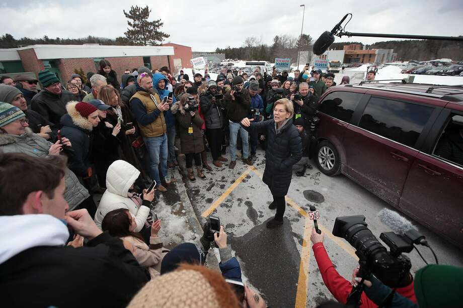 MANCHESTER, NEW HAMPSHIRE - FEBRUARY 08: Democratic presidential candidate Sen. Elizabeth Warren (D-MA) speaks to an overflow crowd at a canvas kickoff event with supporters at Manchester Community College on February 08, 2020 in Manchester, New Hampshire. The 2020 New Hampshire primary will take place on February 11, making it the second nominating contest for the Democratic Party in choosing their presidential candidate to face Donald Trump in the 2020 general election. (Photo by Scott Olson/Getty Images) Photo: Scott Olson / Getty Images