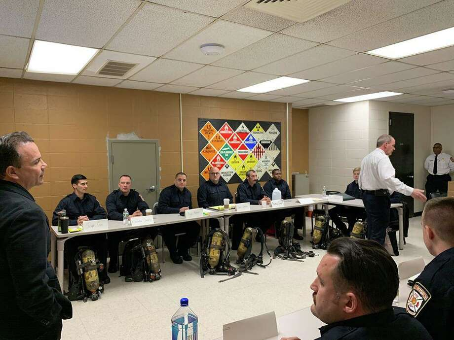 Bridgeport, Conn., Mayor Joe Ganim meets with the newest Bridgeport Fire Department recruit class on Thursday, Feb. 6, 2020. Photo: Contributed Photo / City Of Bridgeport