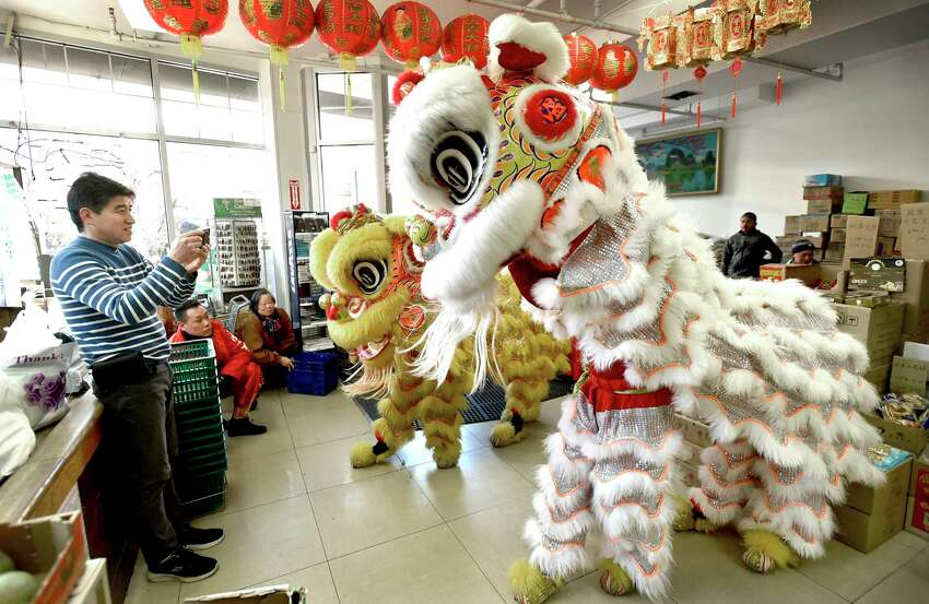 New Haven, Connecticut - February 8, 2020: Tommy Zhang, owner of the Hong Kong Market on Whitney Ave in New Haven, left, photographs the Wan Chi Ming Hung Gar dancing lions the entered his business during Lunarfest, celebrating the Chinese New Year, the Year of the Rat, and the Chinese culture that is highlighted by New Haven's 9th Annual Lion and Dragon Dance Parade that winds down Church Street towards Whitney Avenue to the the Hong Kong Market and Great Wall Restaurant. The dancing Lions are performed by the Wan Chi Ming Hung Gar Institute's lions of New York City, and are a symbol of good luck to people and area merchants. The dragons are handcrafted by area schools and the public.