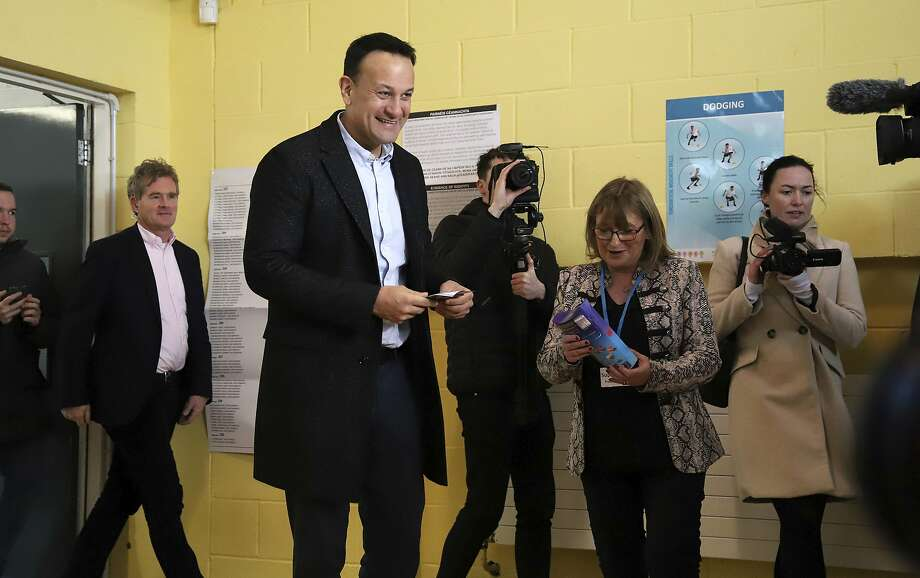 Prime Minister Leo Varadkar, Ireland's first openly gay leader, casts his ballot in Castleknock. His Fine Gael party was tied with the Fianna Fail and Sinn Fein parties, according to a poll. Photo: Damien Storan / Press Association