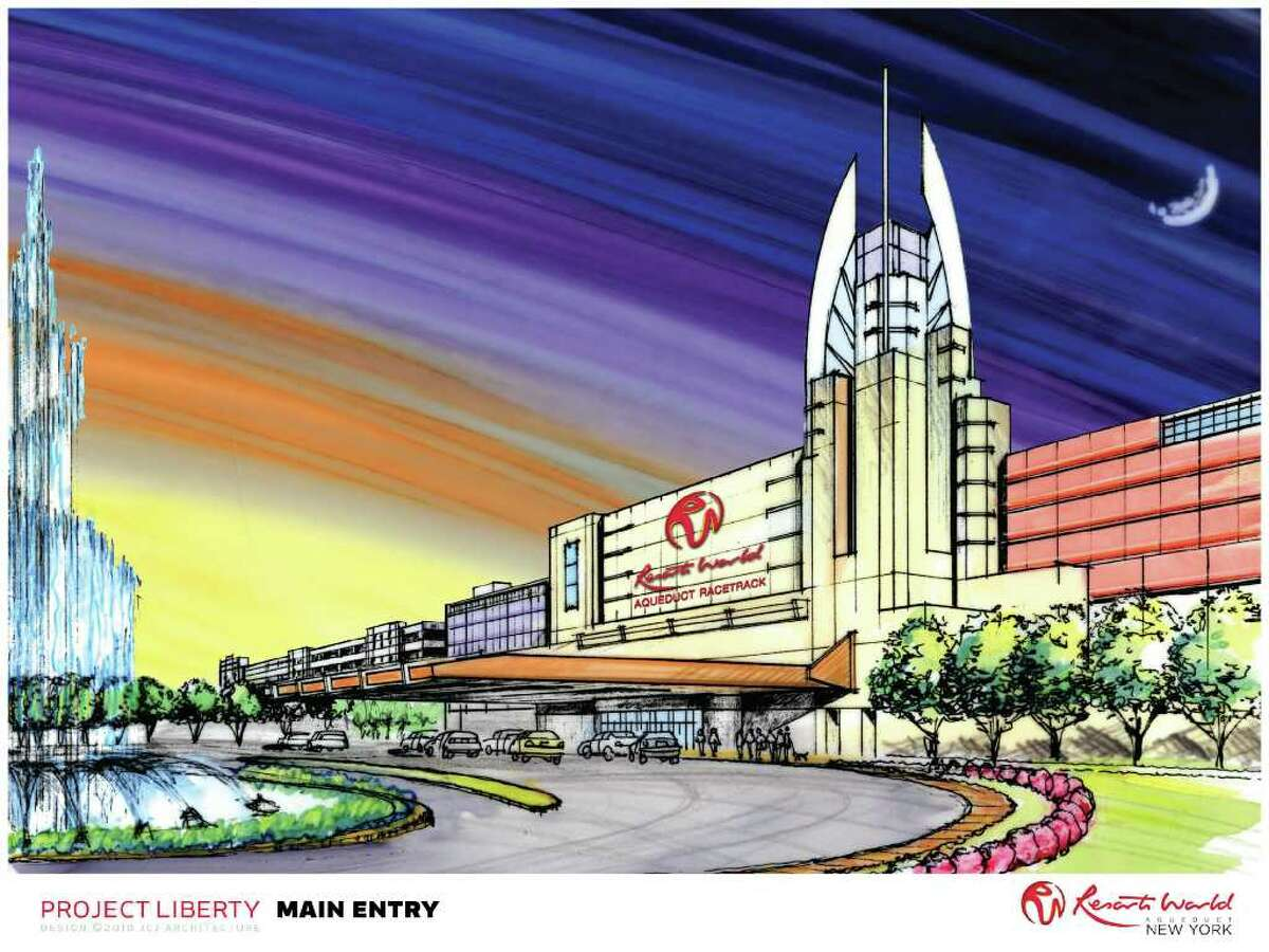 Artist's rendering of the proposed Genting LLC Aqueduct racino entrance in Queens.