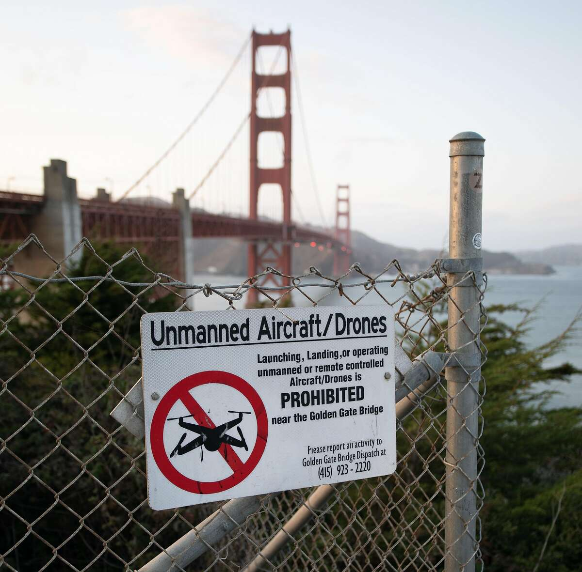 Signs around the Golden Gate Bridge notify visitors that operating drones there is illegal, but that hasn't stopped some people.