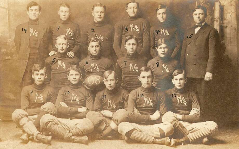 Shown are members of the 1908 Manistee High School football team.