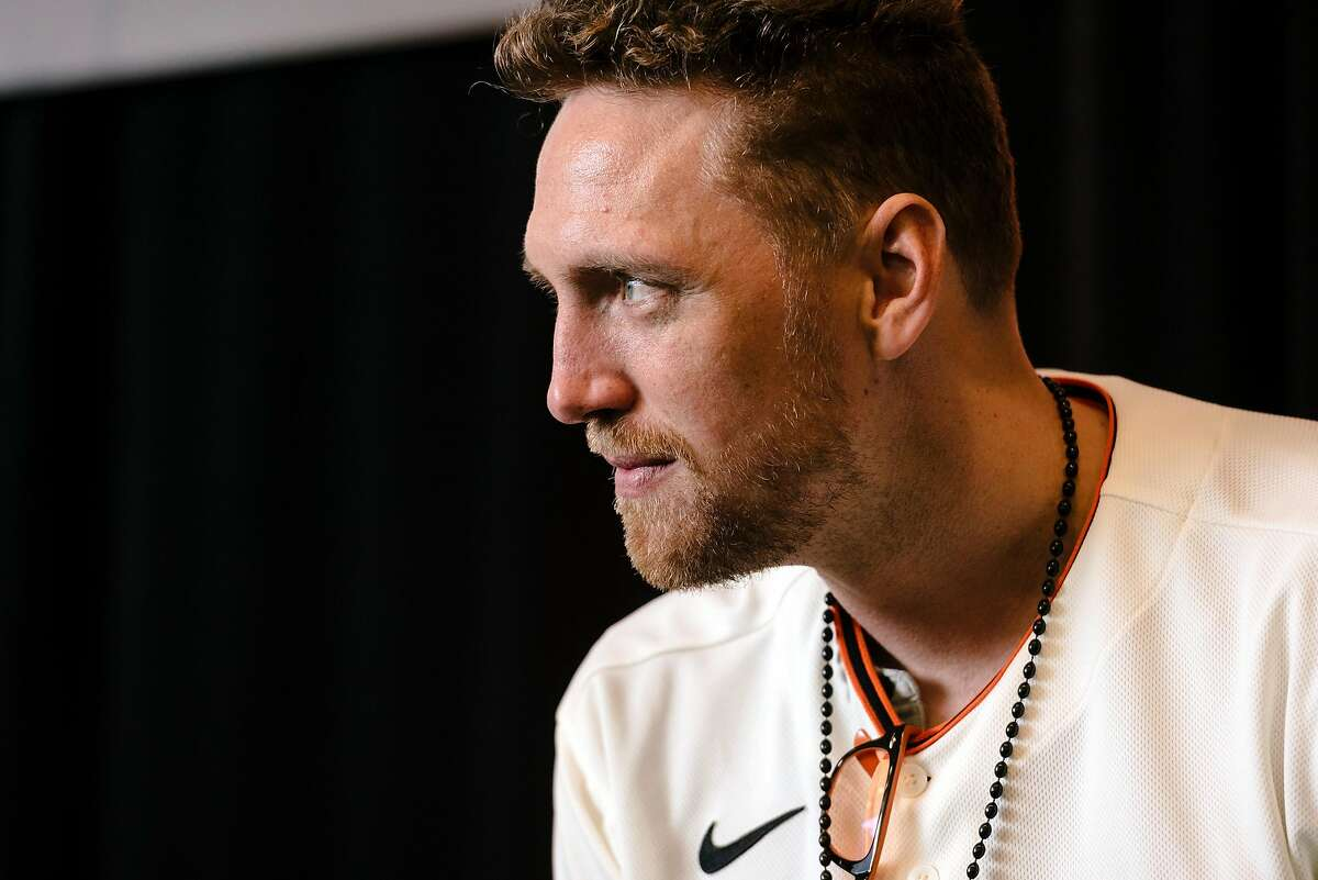 Hunter Pence listens to a question from the audience during the San Francisco Giants Fan Fest event at Oracle Park in San Francisco, California, U.S., on Saturday, Feb. 8, 2020.