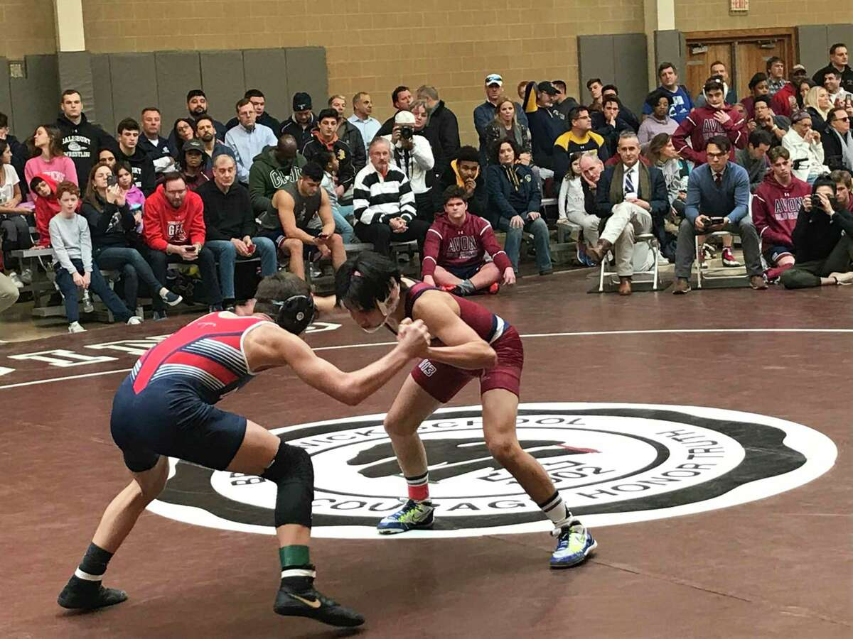 CJ Shea, left, of Greens Farms Academy, wrestles Aiden Maag of Avon Old Farms in the 113-pound title match at the Western New England Independent School Wrestling Association Championships on Saturday, February 8, 2020, at Brunswick School in Greenwich, Connecticut.