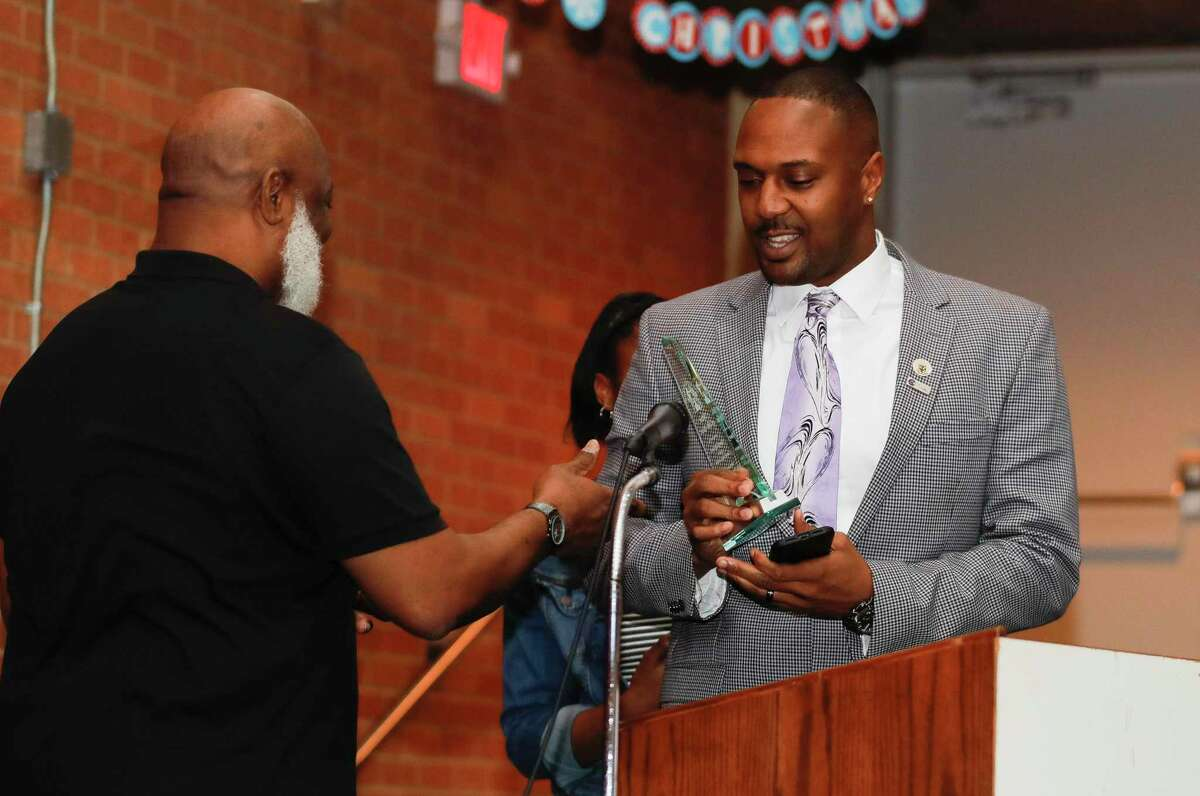 Conroe High School basketball coach Daryl Mason was honored as man of the year at Booker T. Washington Junior High School following the annual Leon Tolbert Annual Black History Month Parade, Saturday, Feb. 8, 2020, in Conroe.