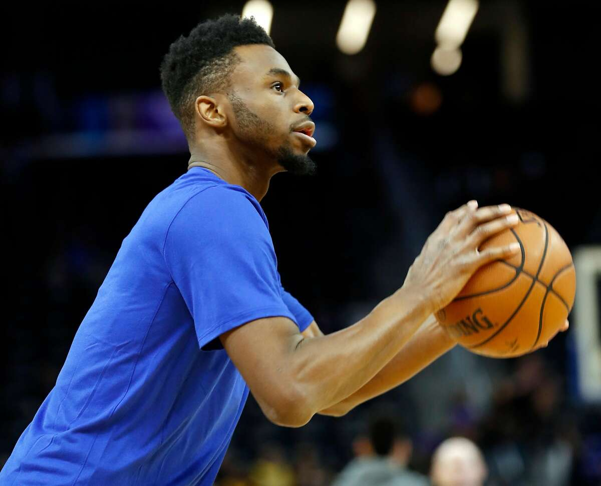 Golden State Warriors' Andrew Wiggins before playing Los Angeles Lakers during NBA game at Chase Center in San Francisco, Calif., on Saturday, February 8, 2020.