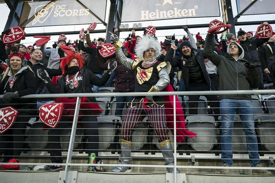 WASHINGTON, DC - FEBRUARY 08: DC Defenders fans celebrate during the second half of the XFL game against the Seattle Dragons at Audi Field on February 8, 2020 in Washington, DC. (Photo by Scott Taetsch/Getty Images) Photo: Scott Taetsch / Getty Images