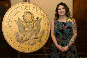 Renee Fahey poses for a photo during the annual Jefferson Awards event at the Century House on Monday, April 15, 2019 in Latham. Fahey will be representing the Capital Region at the national ceremony in June in Washington, D.C. (Lori Van Buren/Times Union)