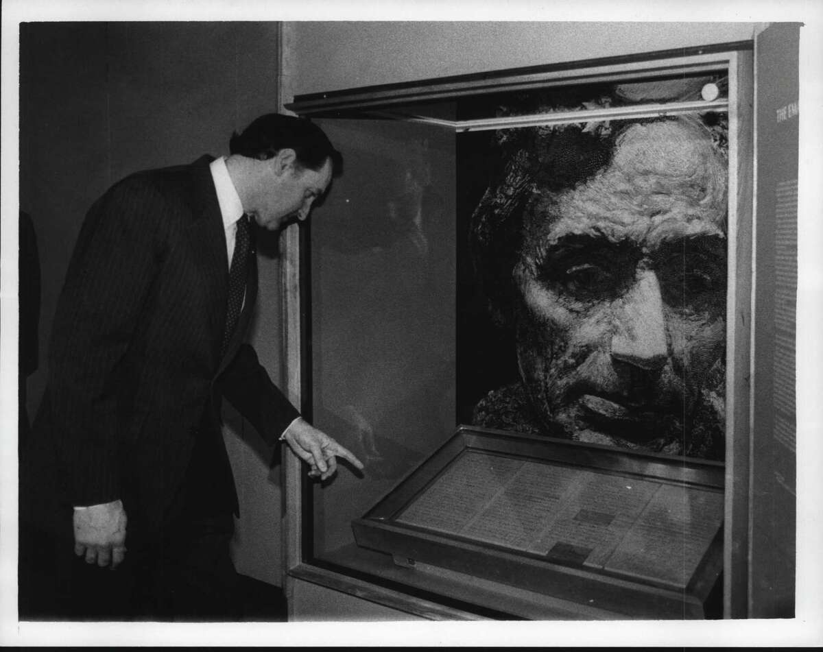 Emancipation Proclamation exhibit at New York State Museum. Former state Education Commissioner Gordon M. Ambach at opening of exhibit on Feb. 1, 1985 (Times Union Archive)