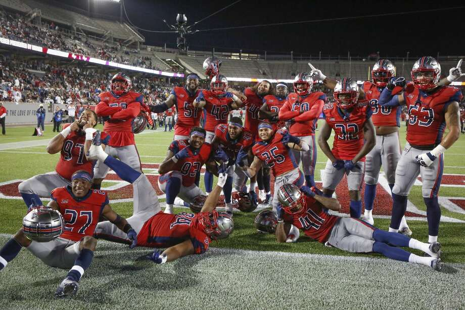 Houston Roughnecks celebrates after Houston Roughnecks linebacker DeMarquis Gates (47) recovers a fumble during the fourth quarter of an XFL football game at TDECU Stadium on Saturday, Feb. 8, 2020, in Houston. Photo: Steve Gonzales/Staff Photographer