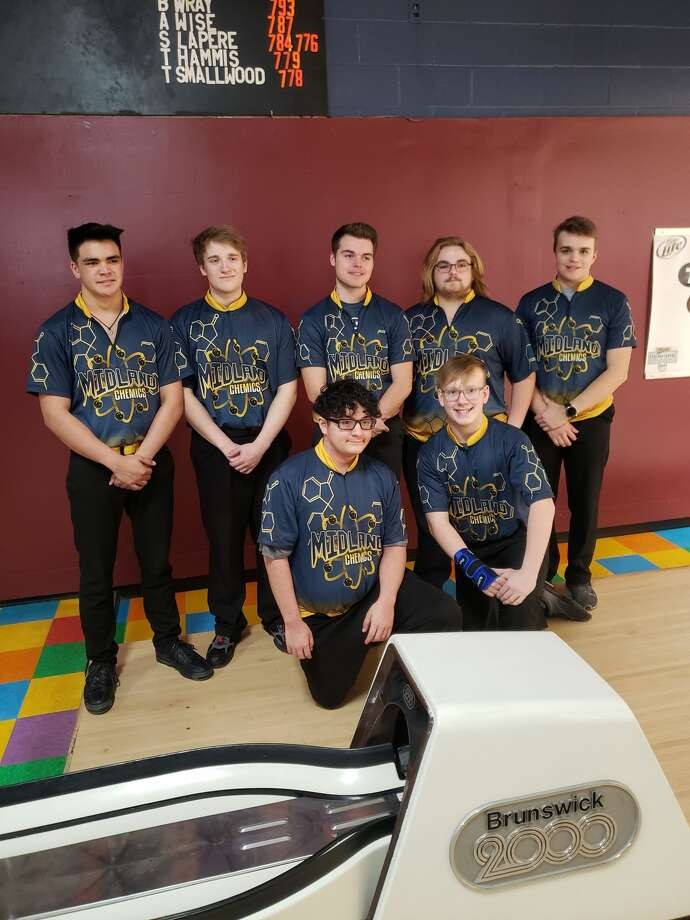 Pictured is the undefeated Midland High boys' bowling team: (front row, from left) Ruberto Mosqueda, Hunter Blackhurst; (back row, from left) Colin Terrill, Izaac Goergen, Nathan Miller, Eric Kalishek, Alex Kuzik. Photo: Photo Provided