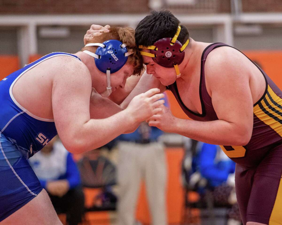 Brian Garrity, of Shaker, defeats Hayden Roe, of Colonie in the 285-pound division of the Section II, Class A finals at Bethlehem High School in Delmar NY on Saturday, Feb. 8, 2019 (Jim Franco/Special to the Times Union.)
