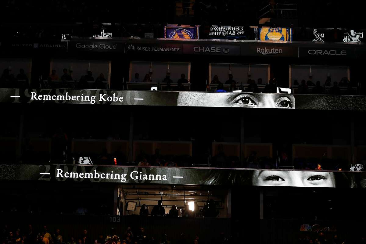 Tribute to Kobe and Brianna Bryant and others, who died in recent helicopter crash, before Golden State Warriors play Los Angeles Lakers during NBA game at Chase Center in San Francisco, Calif., on Saturday, February 8, 2020.