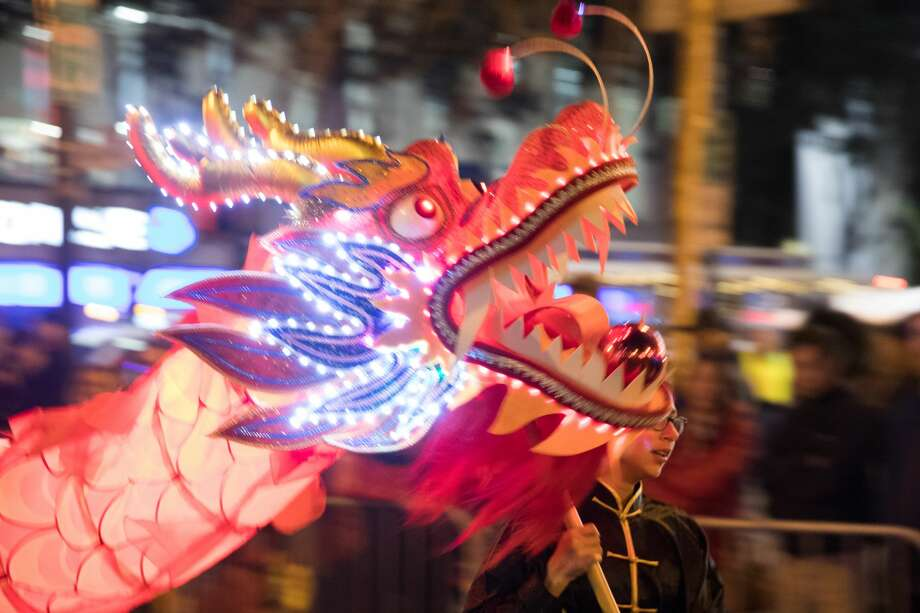 A line dragon, led by Laura Petrocelli, was part of the Aptos Middle School performance during the Chinese New Year Parade in San Francisco, Calif. on February 8, 2020. Photo: Douglas Zimmerman/SFGate.com