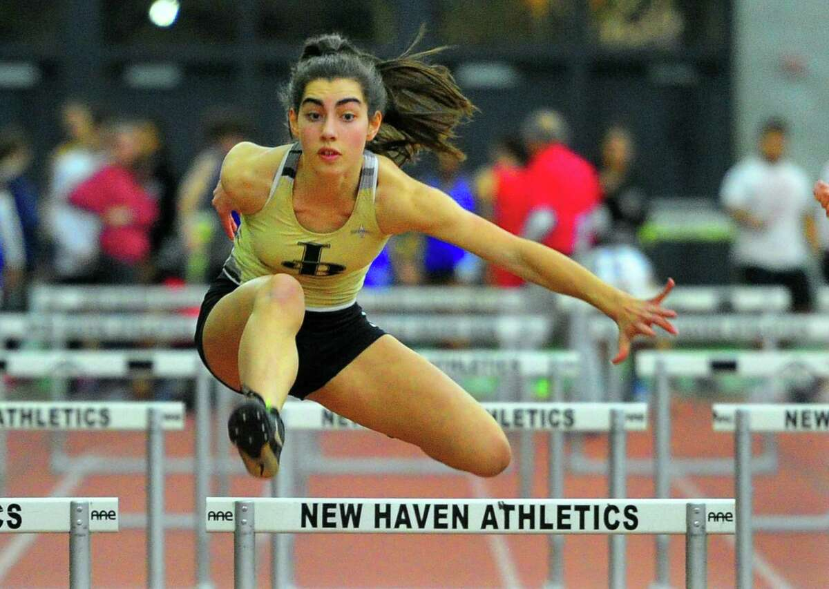 Joel Barlow's Mariella Schweitzer competes in the hurdles during the SWC indoor track championship earlier this month.