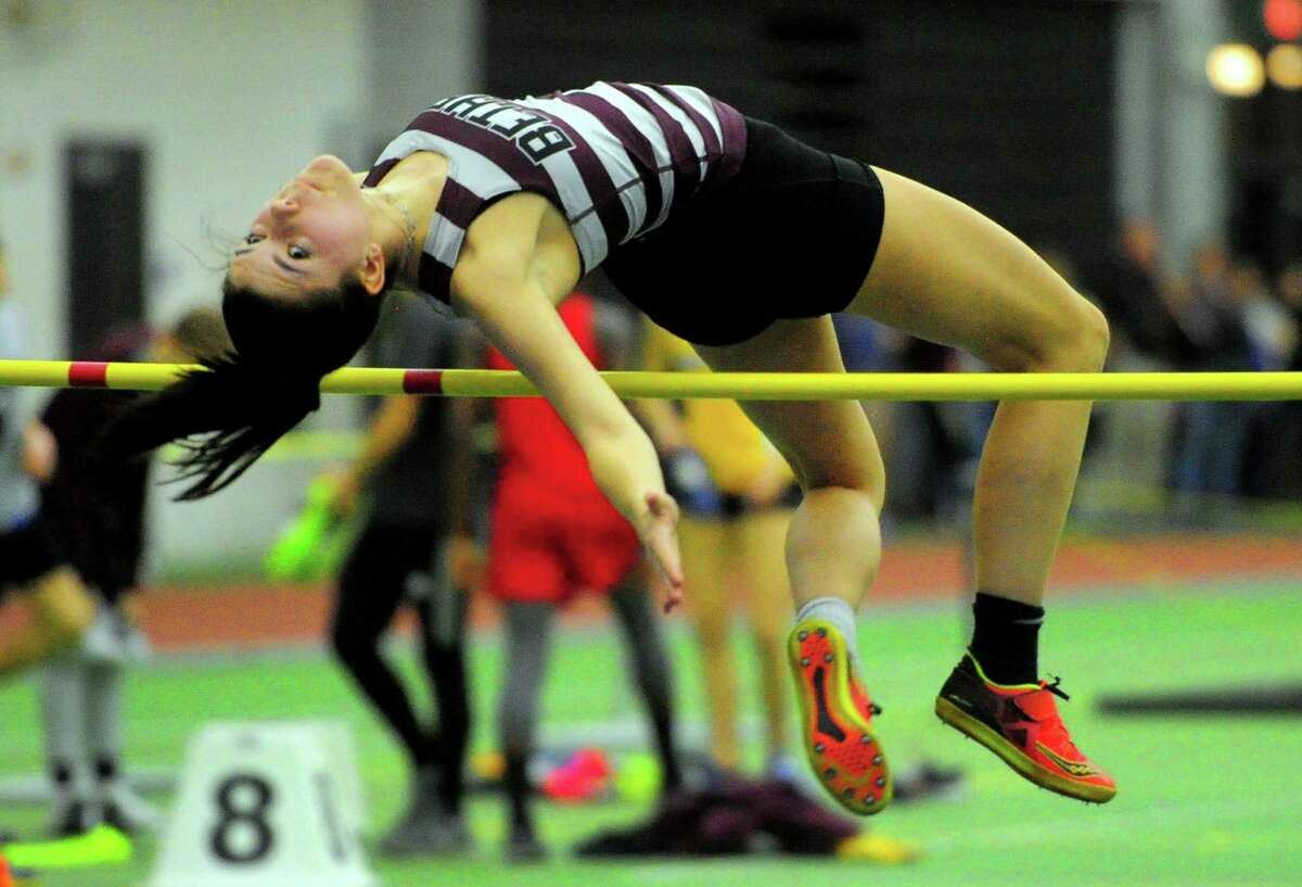 Bethel's Vassa Rezvaya competes in the high jump during the SWC Indoor Track and Field Championships in New Haven on Saturday.