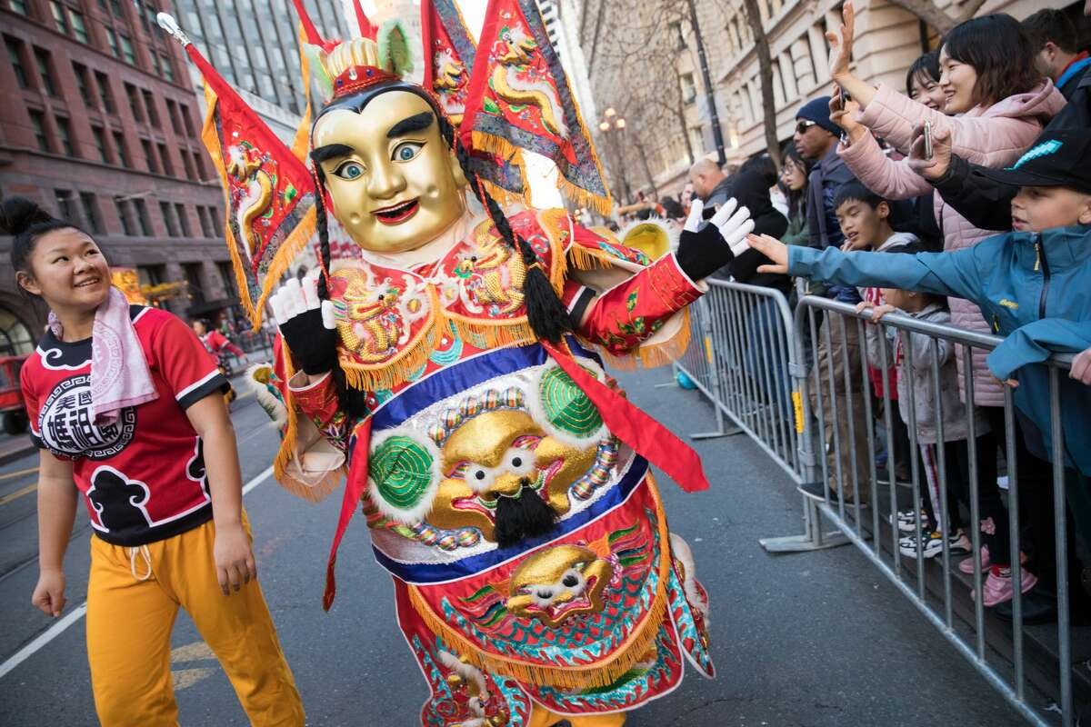 Participants from Ma-Tsu Temple take part in the Chinese New Year Parade in San Francisco, Calif. on February 8, 2020.