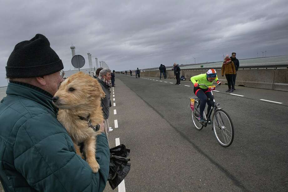 A competitor battles blistering winds during the Dutch Headwind Cycling Championships. Photo: Peter Dejong / Associated Press