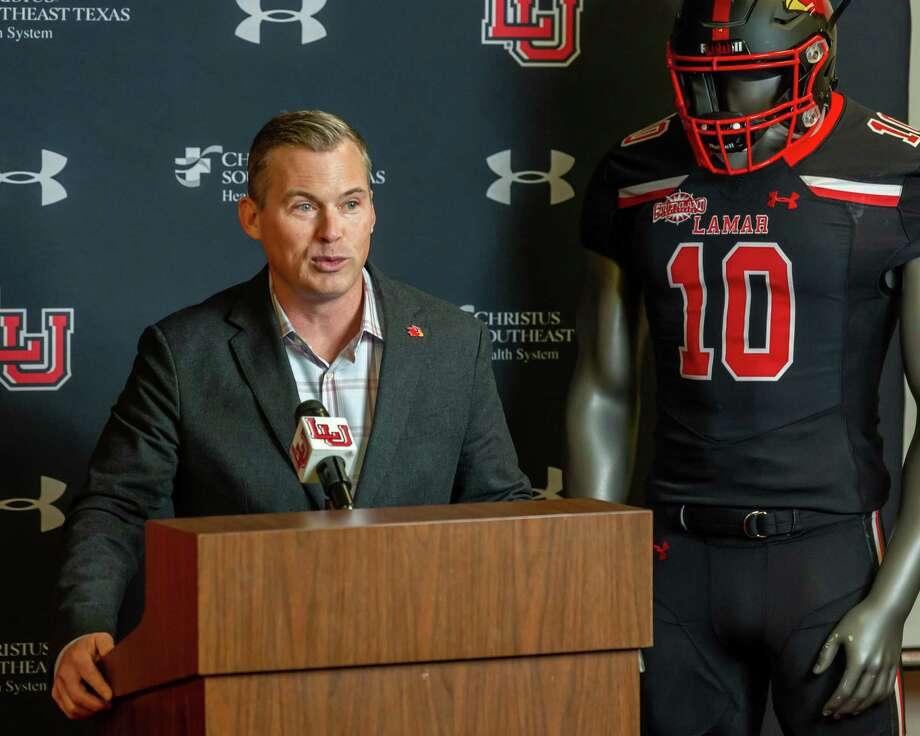 Lamar head football coach Blane Morgan talks about his first signing class at a signing day press conference on February 5, 2020. Fran Ruchalski/The Enterprise Photo: Fran Ruchalski/The Enterprise / 2019 The Beaumont Enterprise