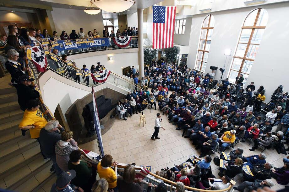 Former South Bend, Ind., mayor Pete Buttigieg speaks at a town hall event in Dubuque, Iowa. Photo: Washington Post Photo By Matt McClain / The Washington Post