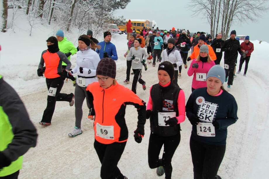 The Betsie Bay Frozen 5K starts at the scenic Lake Michigan overlook in Elberta and follows M22 around Betsie Bay to Frankfort. (Courtesy Photo)