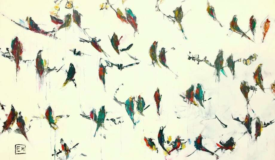 Four of Ellie Harold's migration inspired paintings from her Birds Fly In series will be on display at the American embassy in Bratislava, Slovakia.