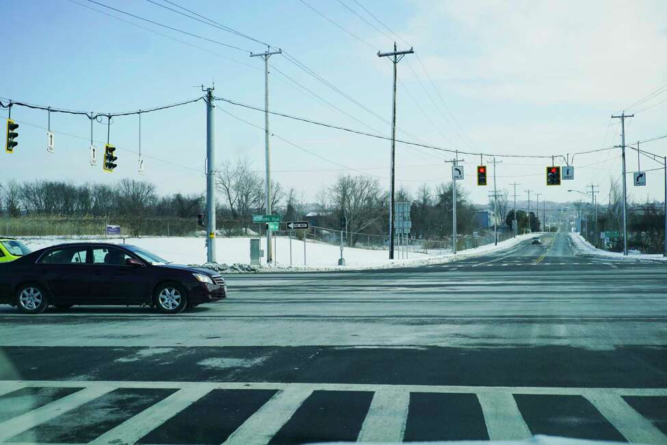 A view looking up Tibbits Ave., where it crosses Interstate 787 on Sunday, Feb. 9, 2020, in Green Island, N.Y. (Paul Buckowski/Times Union)