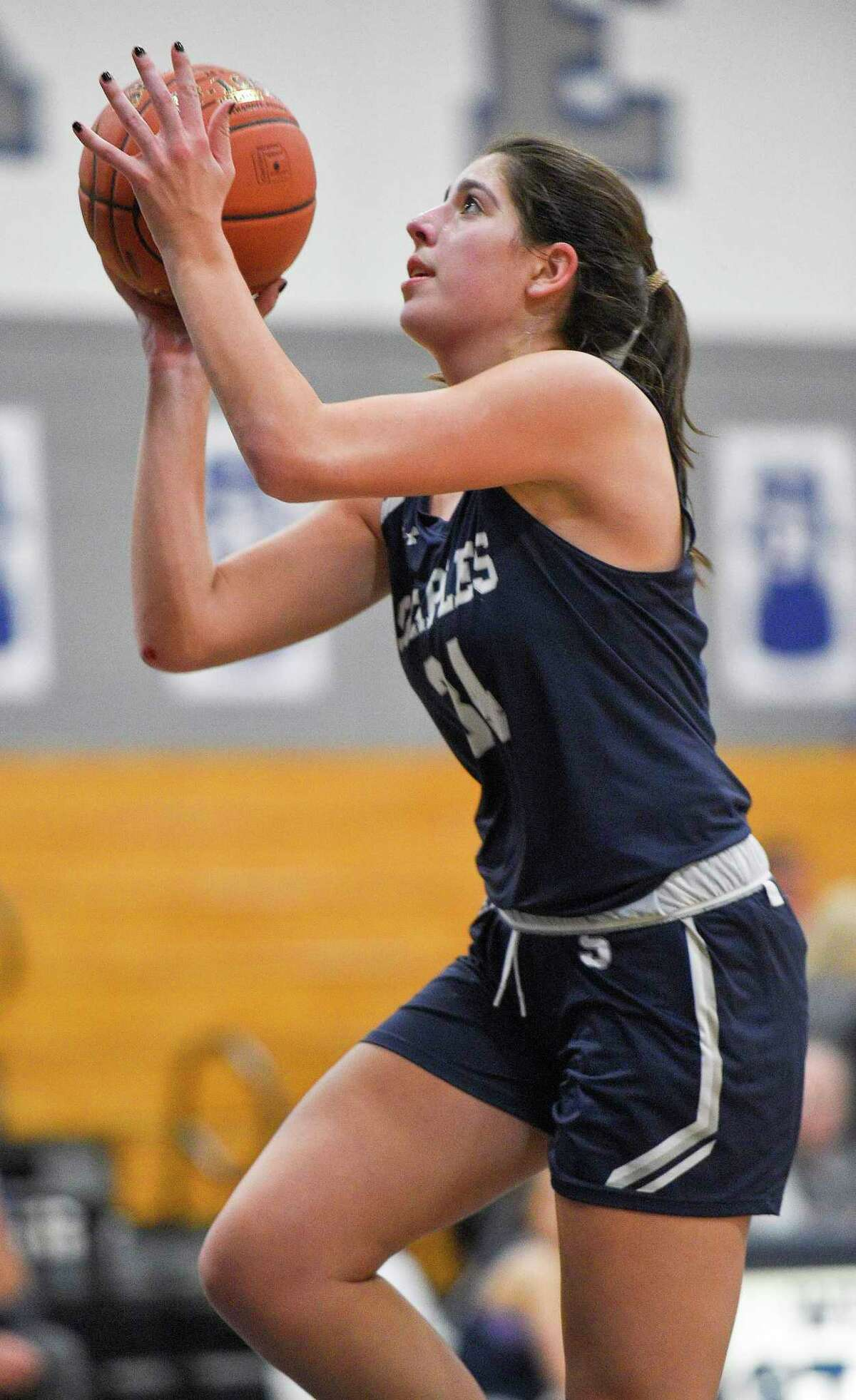 Staples Arianna Gerig puts up a shot against Greenwich in the second half of an FCIAC girls basketball game at Staples High School on Jan. 24, 2020 in Westport, Connecticut. Staples defeated Greenwich 60-44.