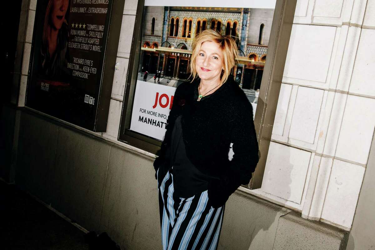 """FILE -- Edie Falco at the opening night of """"My Name is Lucy Barton,"""" which stars Laura Linney, at the Samuel J. Friedman Theatre in New York, Jan. 15, 2020. The actress, who has returned to television with a CBS police drama, puts CNN, ABC Carpet & Home and her fathera€™s sculptures on her list of essentials. (Nina Westervelt/The New York Times)"""