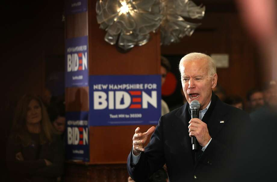 HAMPTON, NEW HAMPSHIRE - FEBRUARY 09: Democratic presidential candidate former Vice President Joe Biden speaks during a campaign event at Ashworth by the Sea on February 09, 2020 in Hampton, New Hampshire. With two days to go until the New Hampshire primary, Joe Biden is campaigning across the state. (Photo by Justin Sullivan/Getty Images) Photo: Justin Sullivan, Getty Images