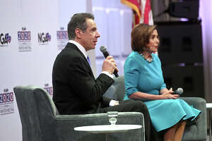 Gov. Andrew M. Cuomo moderates a discussion with House Speaker Nancy Pelosi at the 2020 National Governors Association winter meeting in Washington, D.C. on Feb. 9, 2020.