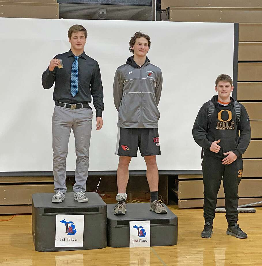 Manistee's Keith Barke won the 189-pound weight class at the Lakes 8 Conference tournament at Ludington on Friday. (Courtesy photo) Photo: Courtesy Photo