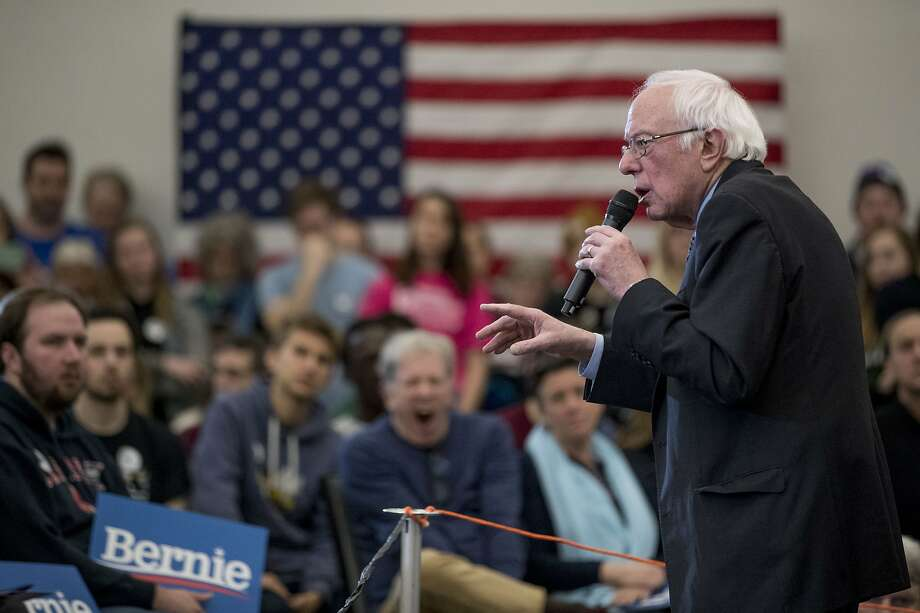 Democratic presidential candidate Sen. Bernie Sanders addresses a rally in Hanover, N.H. Sanders argues that rival candidate Pete Buttigieg is too indebted to wealthy donors. Photo: Andrew Harnik / Associated Press