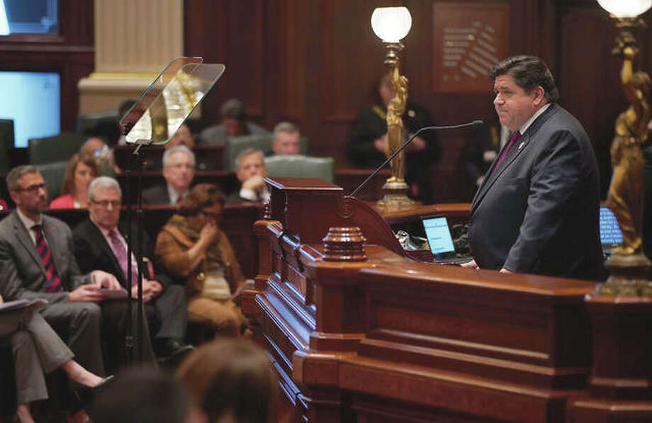 Gov. J.B. Pritzker delivers his first budget address last year to a joint session of the Illinois House and Senate. Photo: E. Jason Wambsgans | Pool (Getty Images)