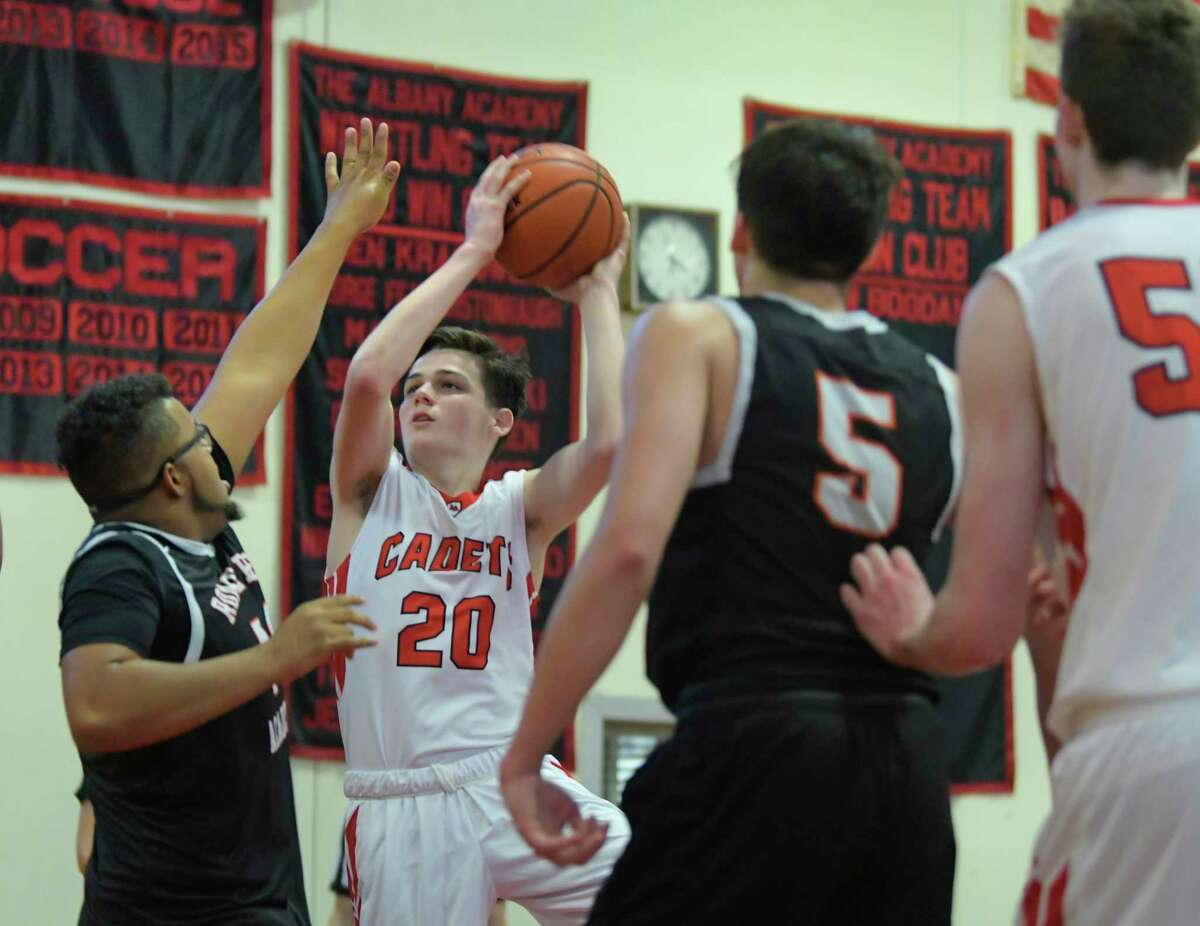 Preston Graber of the Albany Academy drives to the basket during their game against Rome Free Academy on Sunday, Feb. 9, 2020, in Albany, N.Y. (Paul Buckowski/Times Union)