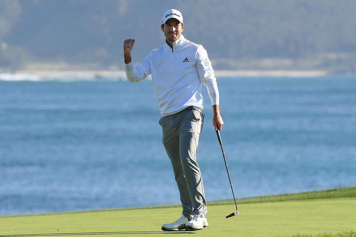 PEBBLE BEACH, CALIFORNIA - FEBRUARY 09: Nick Taylor of Canada celebrates on the 18th green after winning the AT&T Pebble Beach Pro-Am at Pebble Beach Golf Links on February 09, 2020 in Pebble Beach, California. (Photo by Harry How/Getty Images)