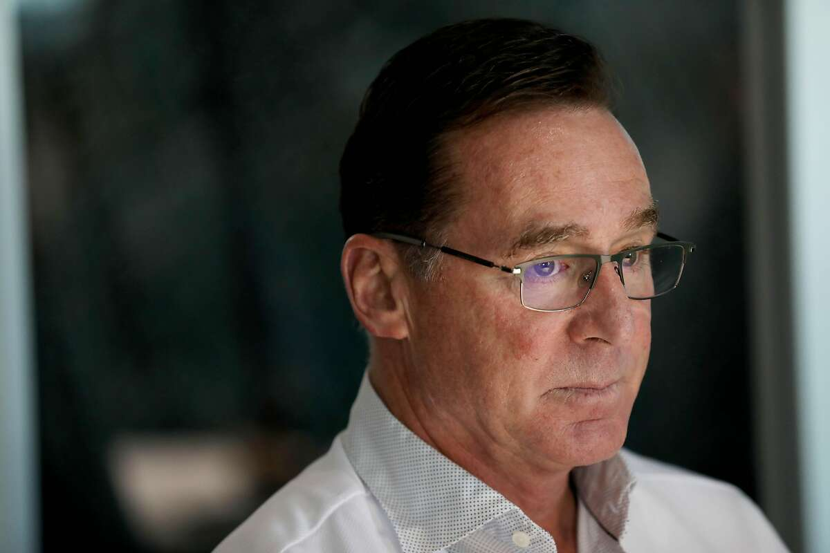 Bob Melvin, manager, speaks to the media during the Oakland A's pre-Fan Fest media availability at the A's offices at Jack London Square in Oakland, Calif., on Friday, January 24, 2020.